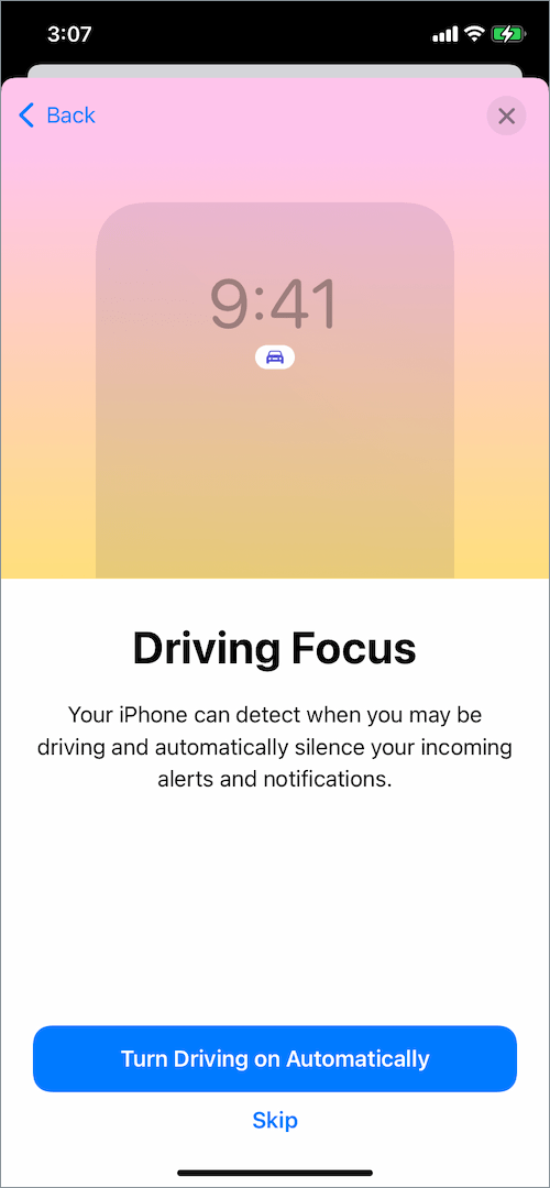 how to set up driving mode in iOS 15