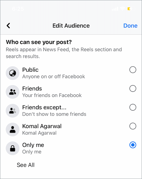 choose who can see your reel on Facebook