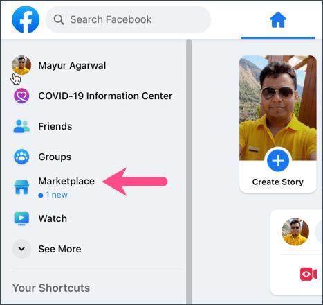 Facebook Marketplace on desktop