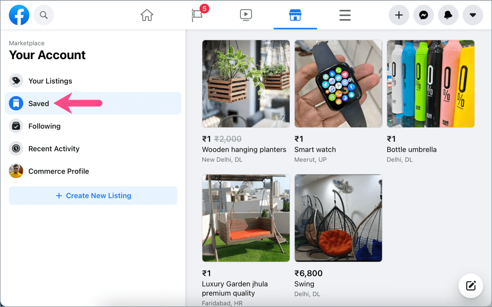 how to find saved items in Facebook Marketplace on desktop