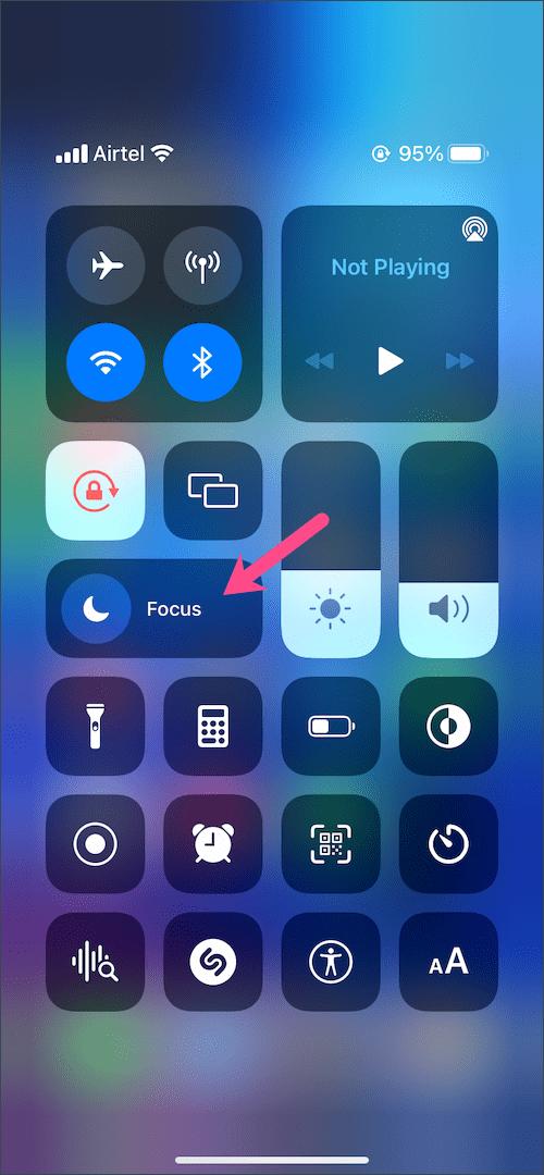 focus in Control Center on iOS 15