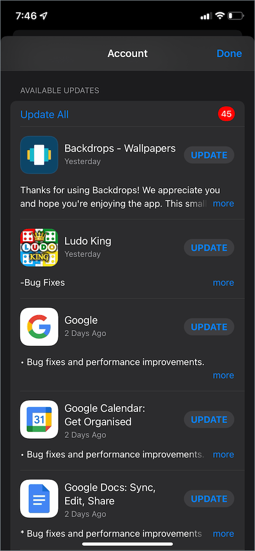list of available app updates in the App Store on iPhone