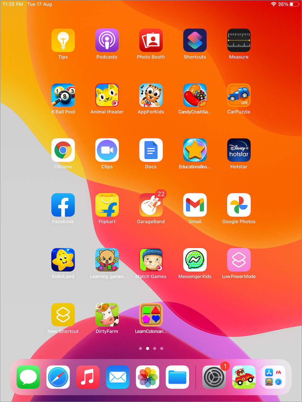 default size of app icons on iPad Home Screen