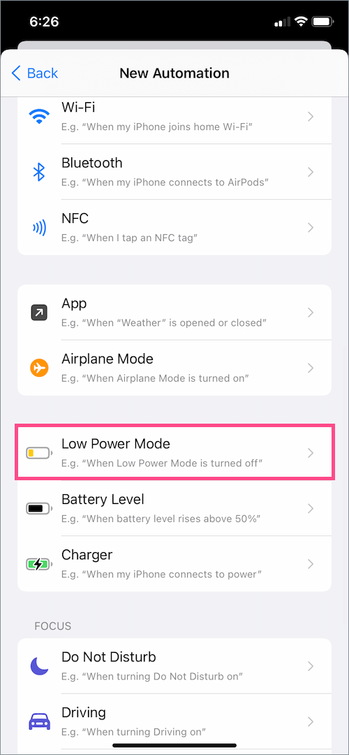 add low power mode shortcut automation on iOS