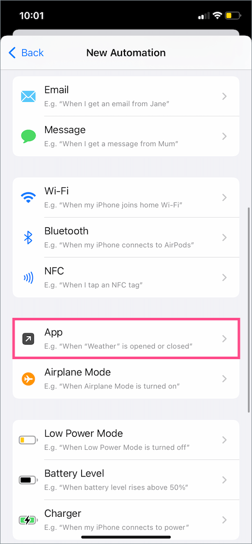 new automation in shortcuts on iOS