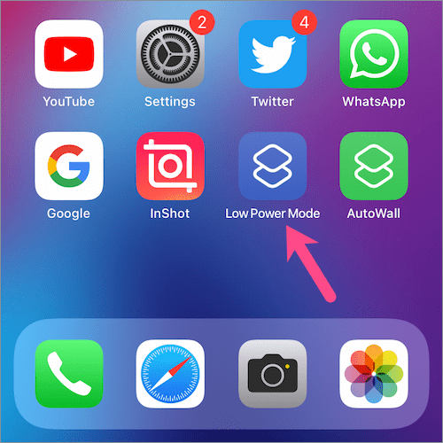 how to put low power mode to Home Screen on iPhone