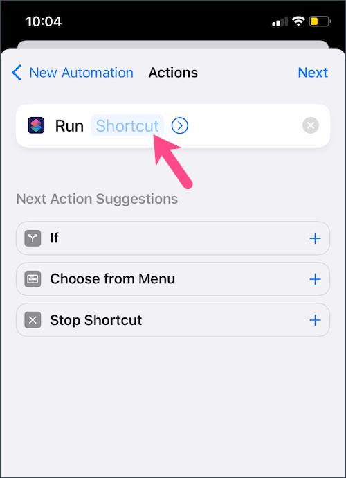 run iOS shortcut