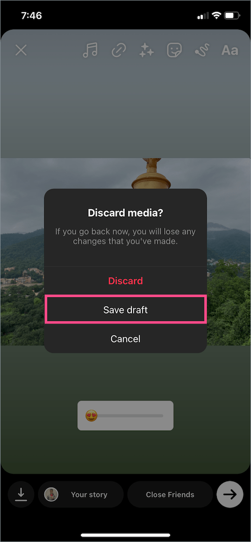 How to save story as draft on instagram