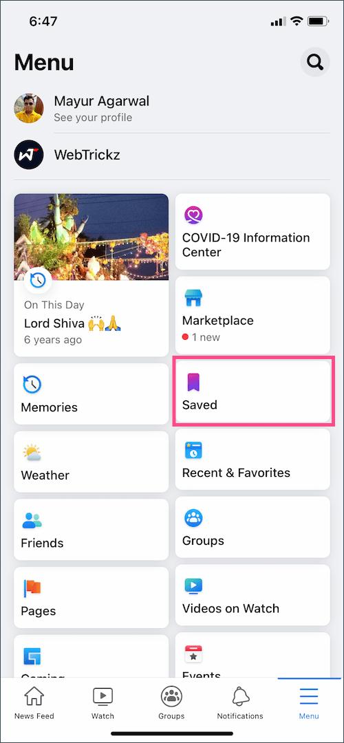 save menu in Facebook app