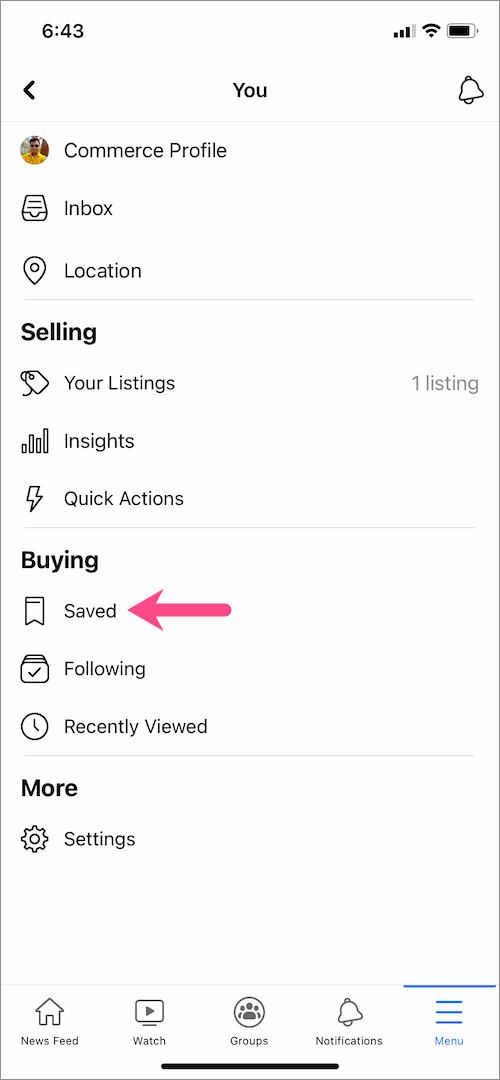 how to see saved items on facebook marketplace