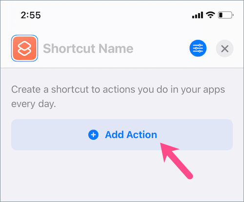 add action in shortcuts