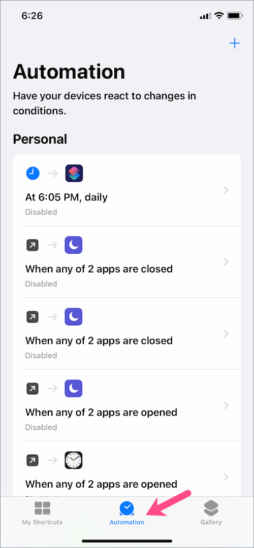 automation tab in shortcuts on iPhone