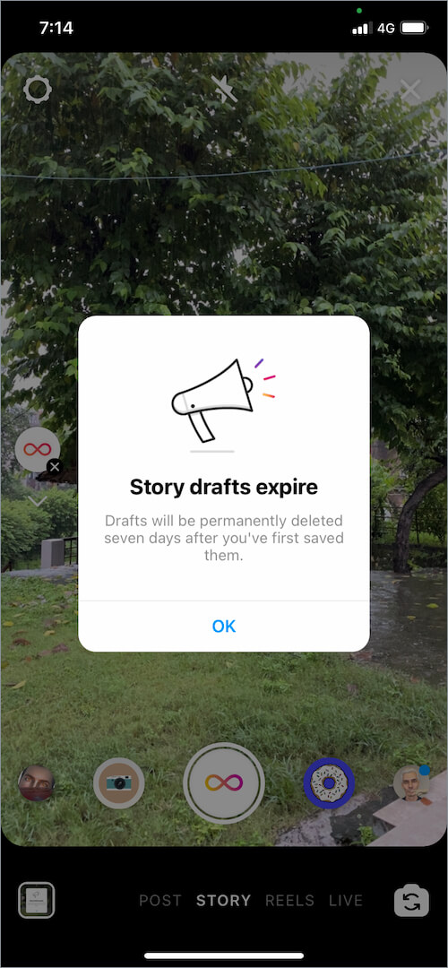 instagram story drafts expire after a week