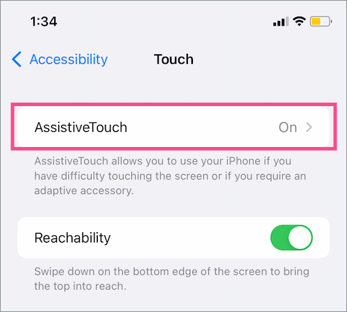 toggle assistive touch on or off on iPhone