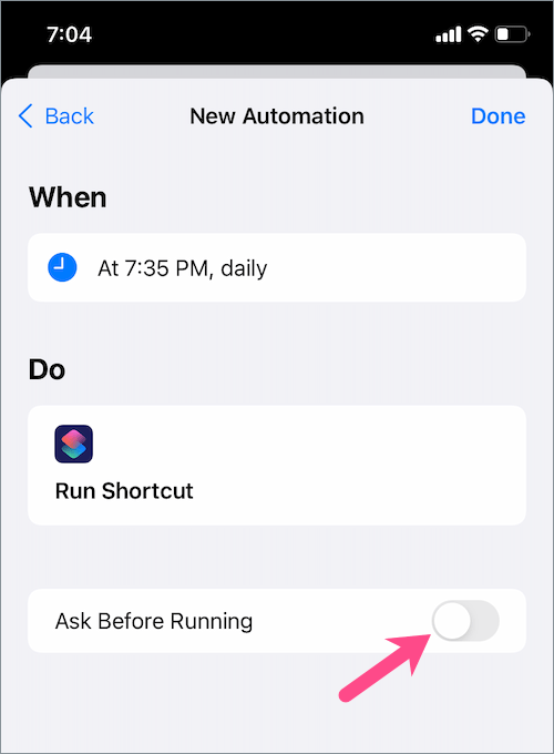 turn off ask before running in shortcut