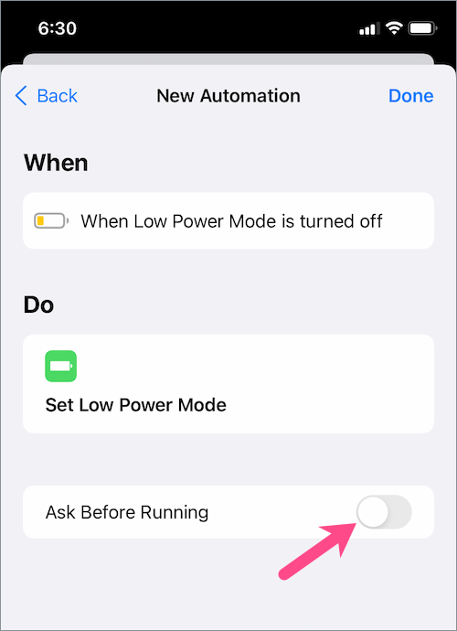 disable ask before running in shortcuts