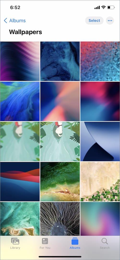 wallpapers album on iPhone