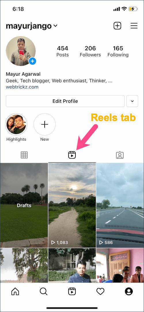find your reels in instagram app