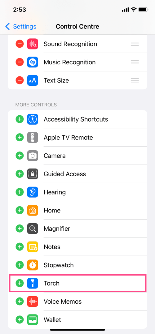 get flashlight back on control centre on iPhone