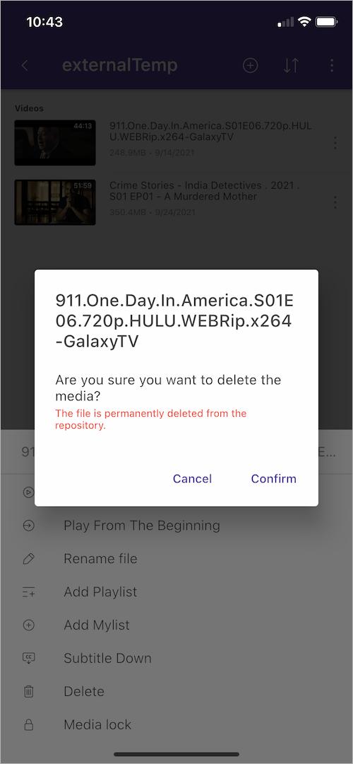 delete a file in kmplayer app