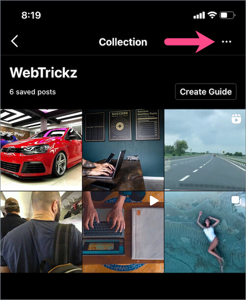 edit saved Instagram collection on iPhone