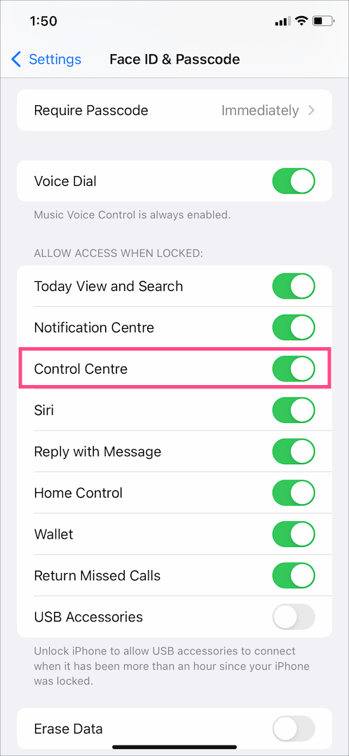 allow access to control center from lock screen