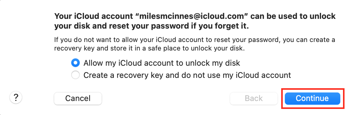 Choose a password recovery option on Mac