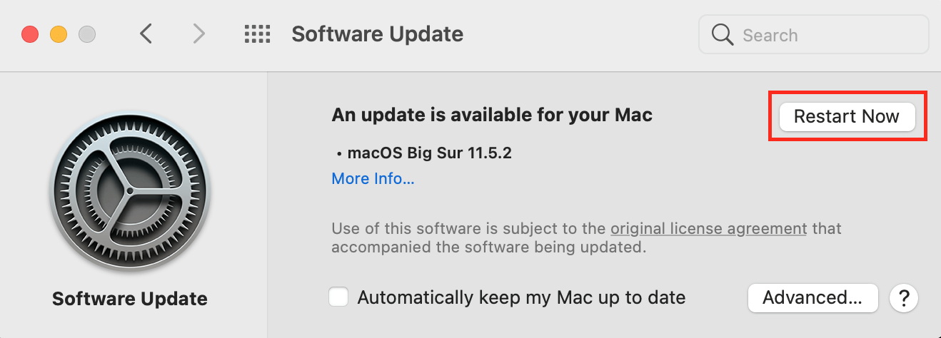 software update on macOS