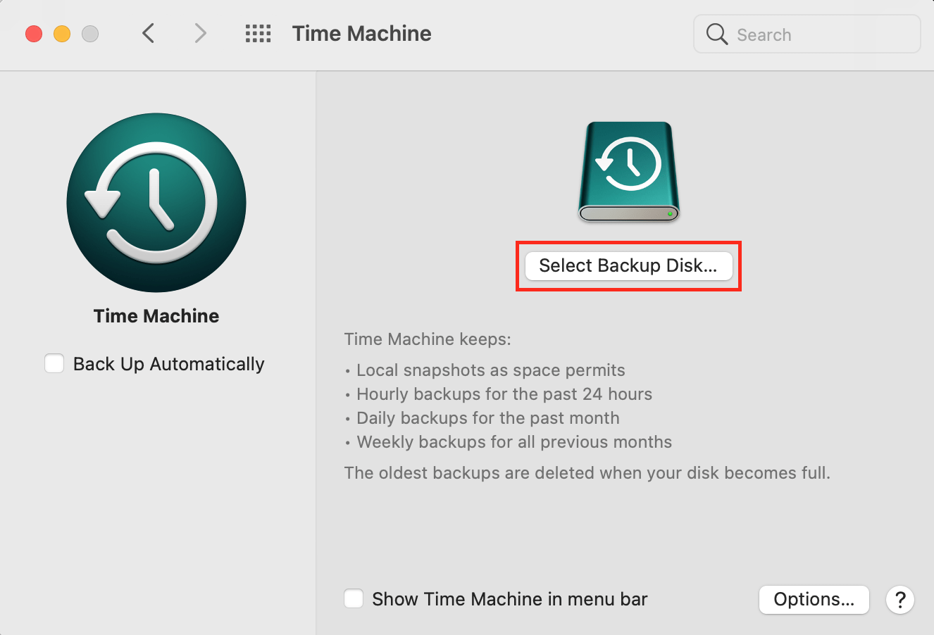 Select Backup Disk in time machine on Mac