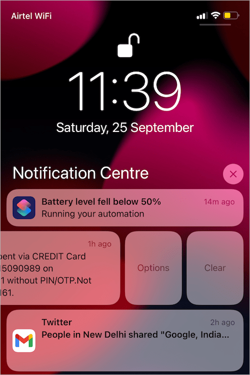 view action missing in iOS 15 notification