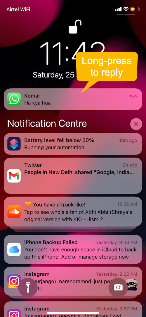 how to reply to WhatsApp messages from Notification bar on iPhone