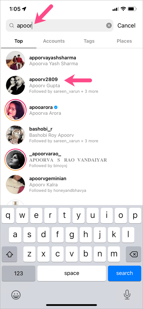 search an account on instagram