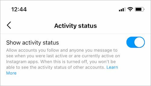 turn on activity status on instagram