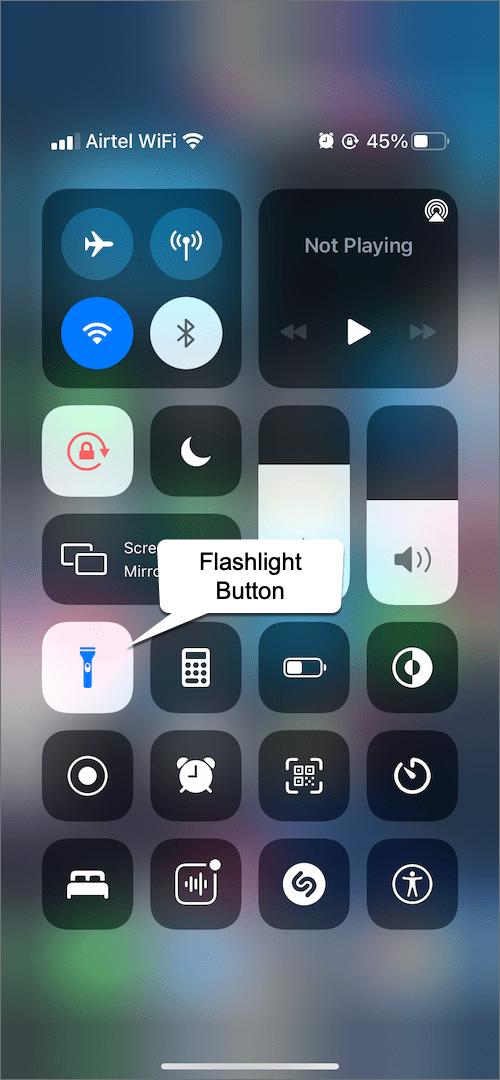 turn on flashlight on iPhone 13 using Control Center