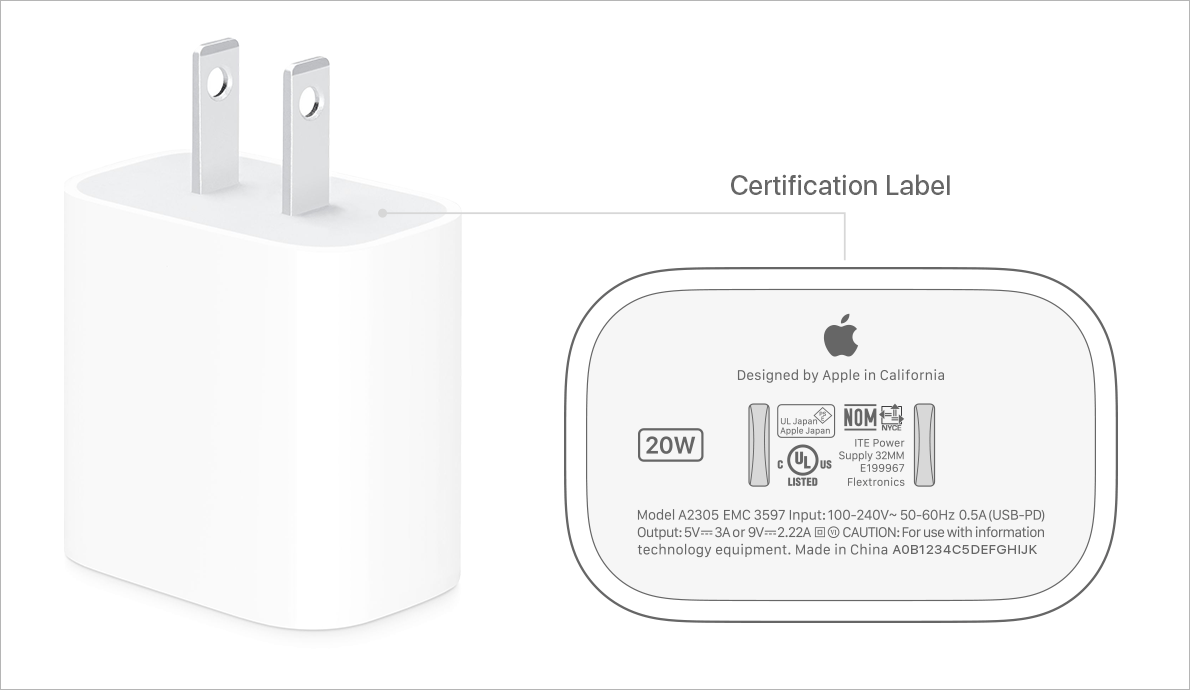 20W USB-C wall brick for iPhone 13