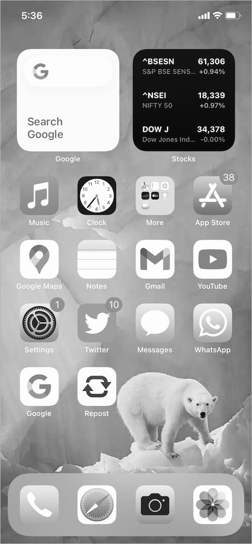 black and white mode on iPhone