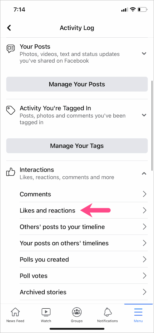 see likes and reactions on Facebook